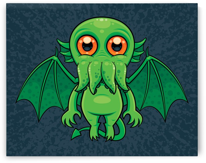 Cute Green Cthulhu Monster by fizzgig