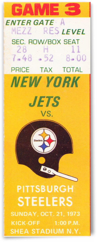 1973 Pittsburgh vs. New York Jets Retro Ticket Stub Canvas by Row One Brand