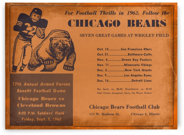 1962 Chicago Bears Vintage Football Art by Row One Brand