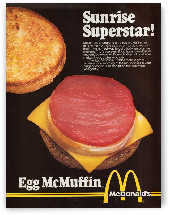 Retro McDonalds Egg McMuffin Advertisement Print by Row One Brand