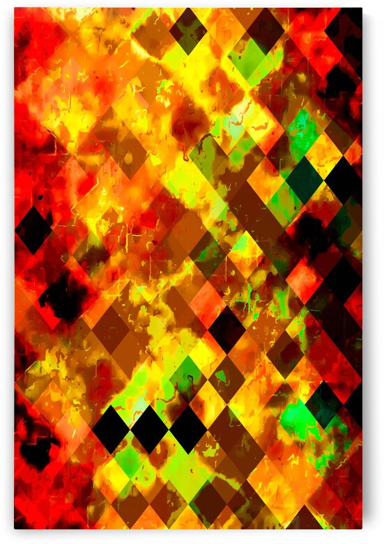geometric square pixel pattern abstract background in yellow brown red by TimmyLA