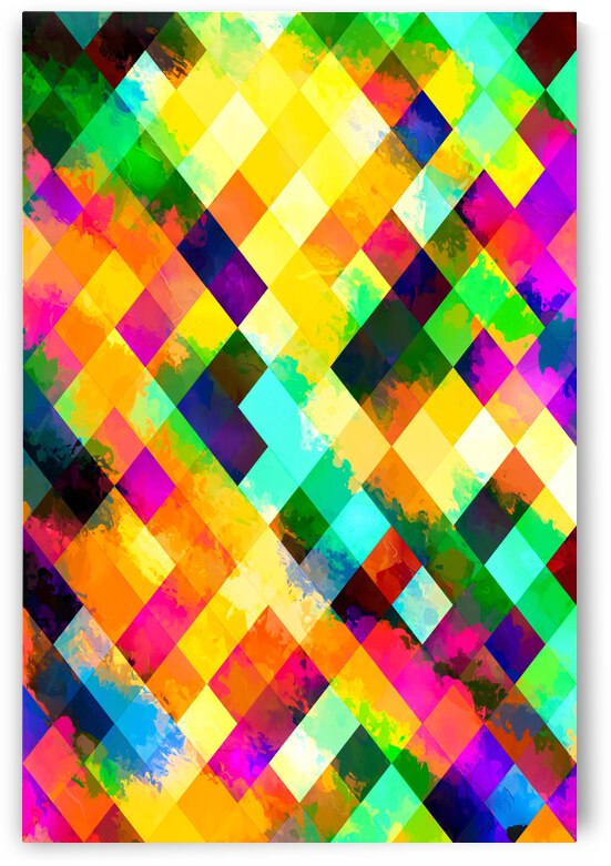 geometric square pixel pattern abstract background in yellow blue green pink orange by TimmyLA