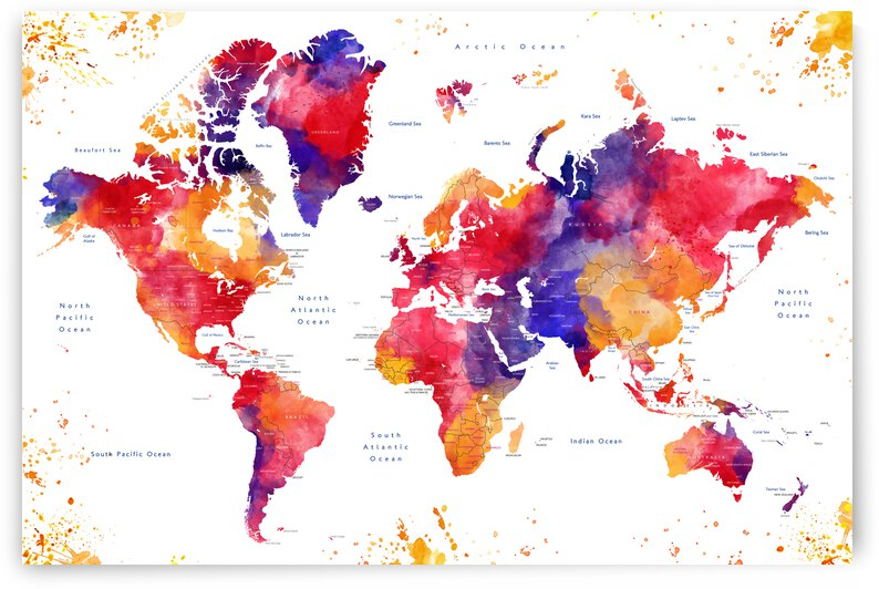 Colorful watercolor world map with states labelled Noor by blursbyai