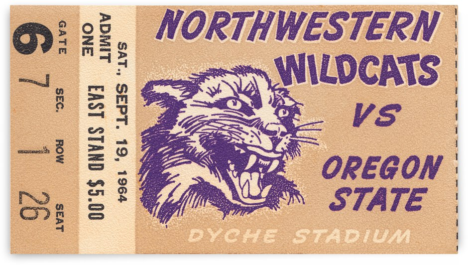 1964 Northwestern vs. Oregon State Football Ticket Canvas by Row One Brand