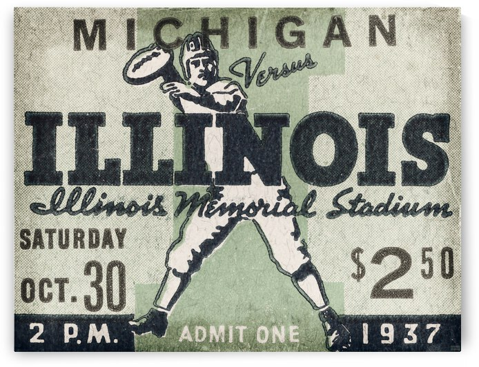 1937 Illinois vs. Michigan Football Ticket Metal Sign by Row One Brand