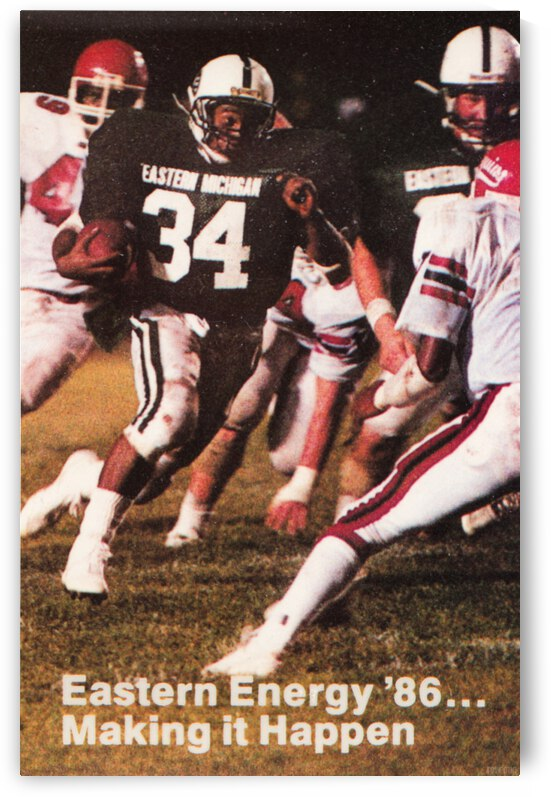 1986 Eastern Michigan Football Poster by Row One Brand