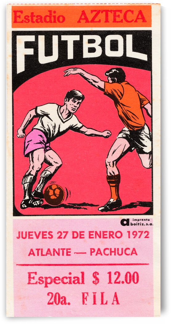 1972 Mexico Soccer Ticket Wall Art by Row One Brand