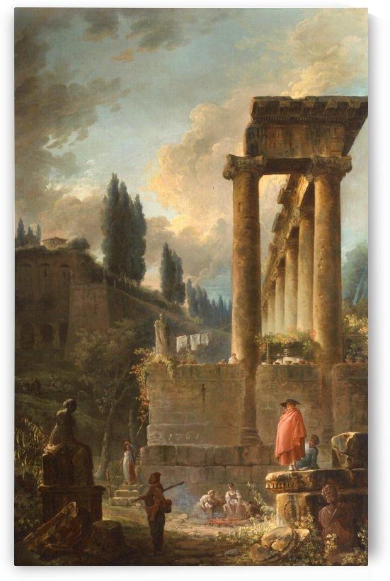 Ruins with figures in Rome by Hubert Robert
