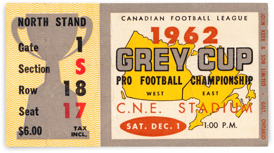 1962 Grey Cup Football Ticket Canvas by Row One Brand