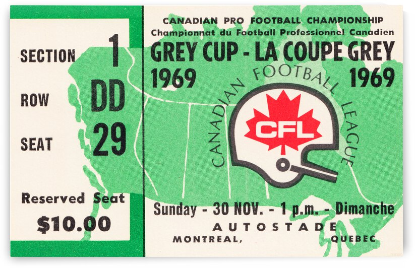 1969 Grey Cup Football Ticket Canvas by Row One Brand