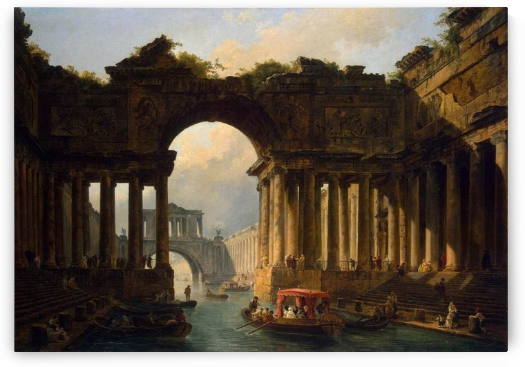 Architectural landscape with a canal, 1783 by Hubert Robert
