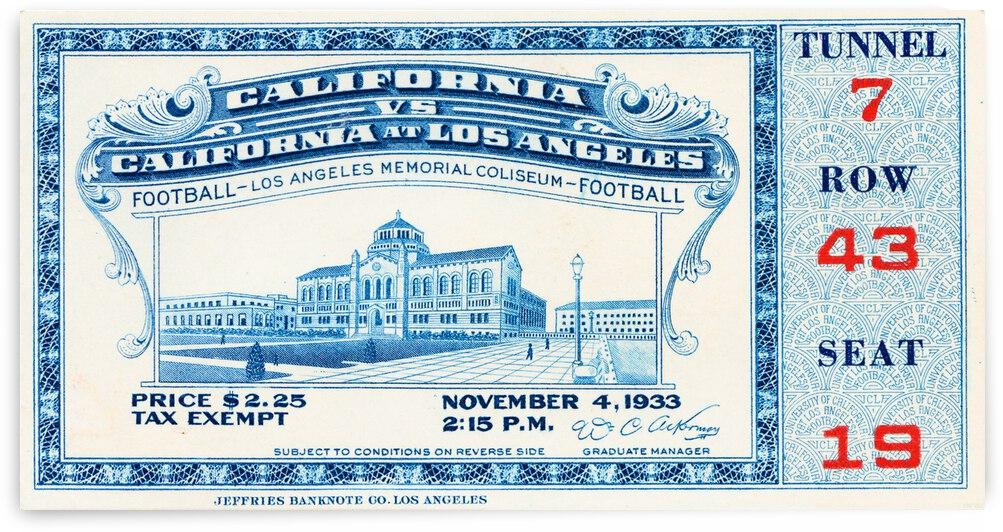 1933 California vs. UCLA Football Ticket Stub Canvas by Row One Brand