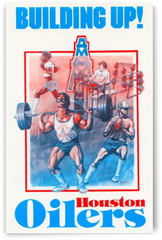 1983 Houston Oilers Building Up Poster by Row One Brand