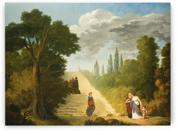 A Grand Staircase In a Park Setting by Hubert Robert