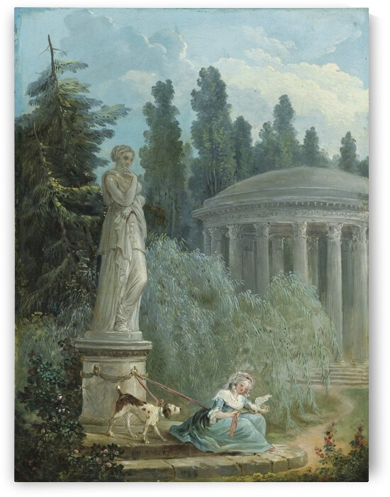 Young Girl Seated Near The Love Temple by Hubert Robert