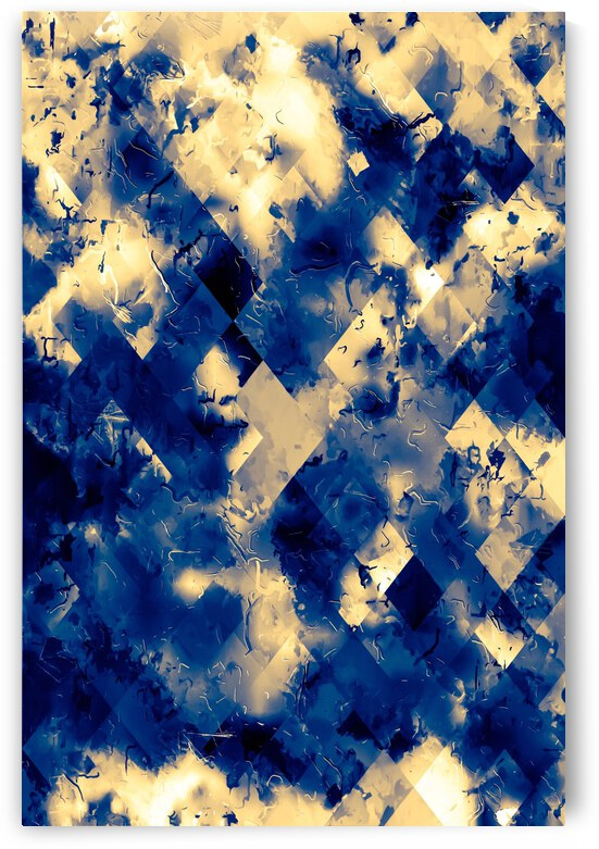 geometric square pixel pattern abstract background in blue yellow by TimmyLA