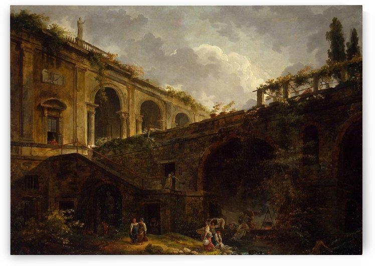 Stable in Ruins of the Villa Giulia by Hubert Robert