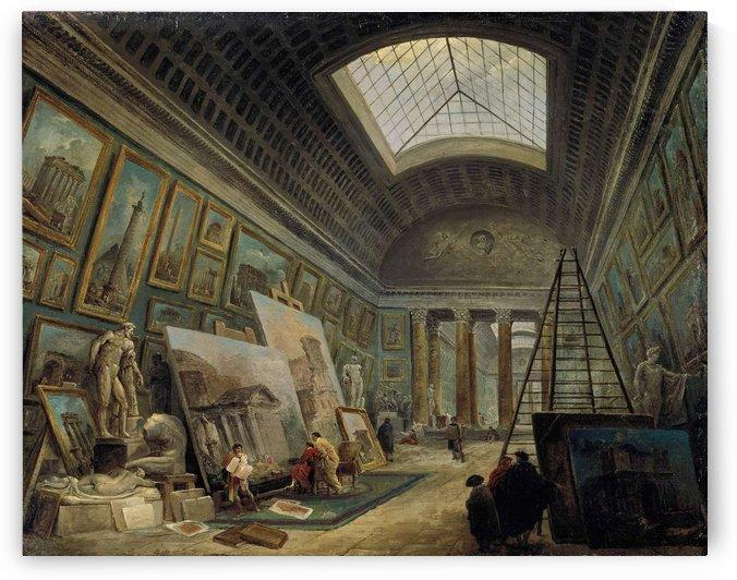 Une galerie du Musee Louvre by Hubert Robert