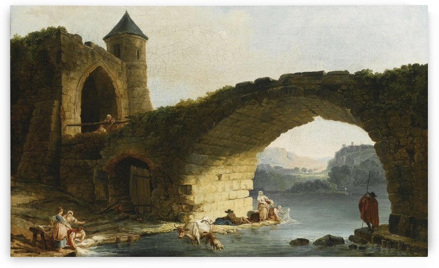A Capriccio River Landscape With Washerwomen Near a Ruined Bridge by Hubert Robert