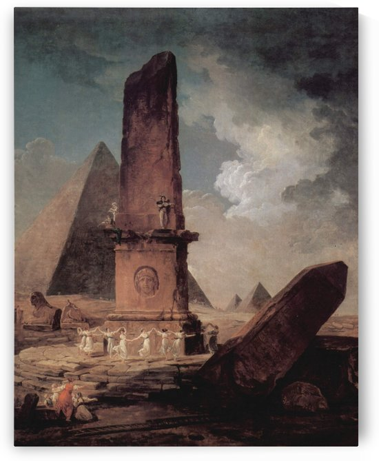 Girls Dancing Around An Obelisk by Hubert Robert