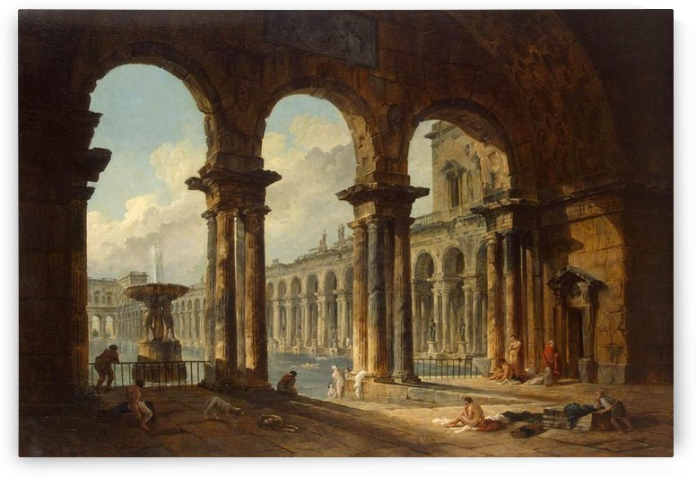 Ancient ruins used as public baths - 1798 by Hubert Robert