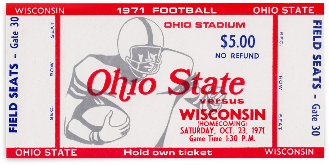 1971 Ohio State vs. Wisconsin Football Ticket Canvas by Row One Brand