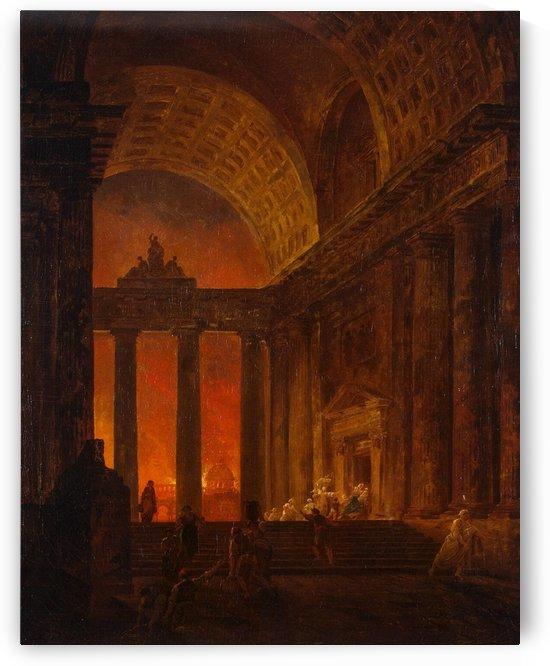Fire in Rome by Hubert Robert