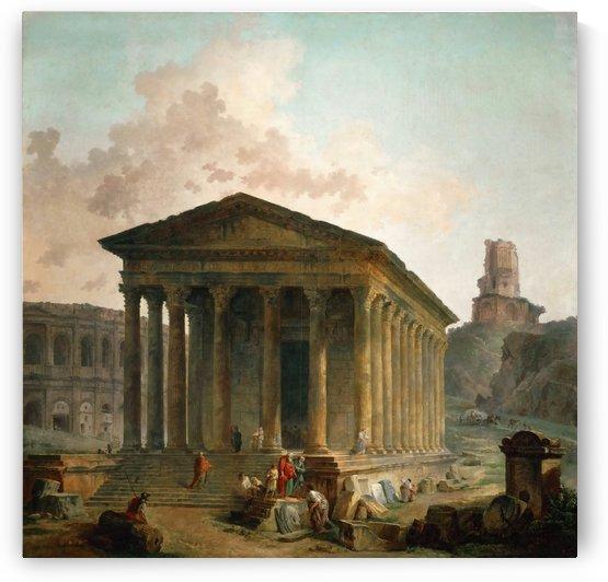 Antic ruins with figures by Hubert Robert
