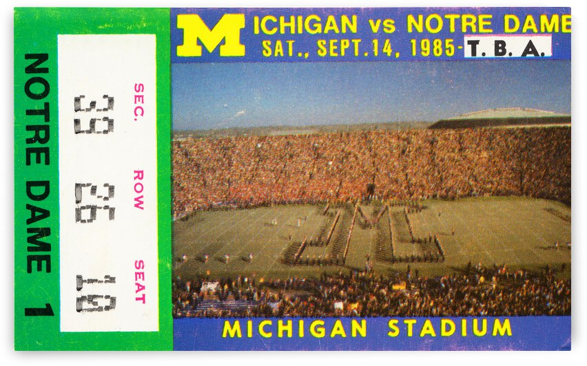 1985 Michigan vs. Notre Dame Football Ticket Stub Canvas by Row One Brand