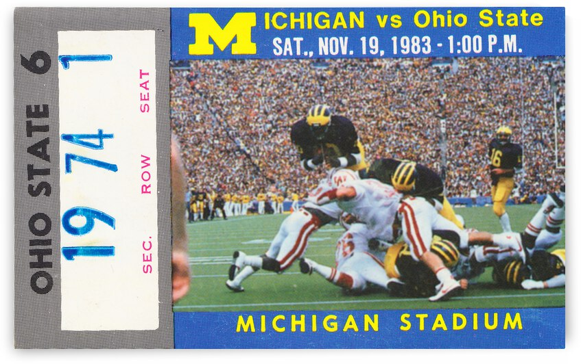 1983 Michigan vs. Ohio State Ticket Canvas by Row One Brand