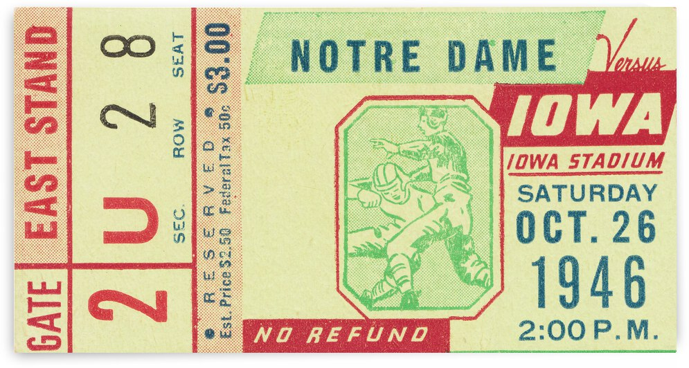1946 Iowa vs. Notre Dame Football Ticket Canvas by Row One Brand