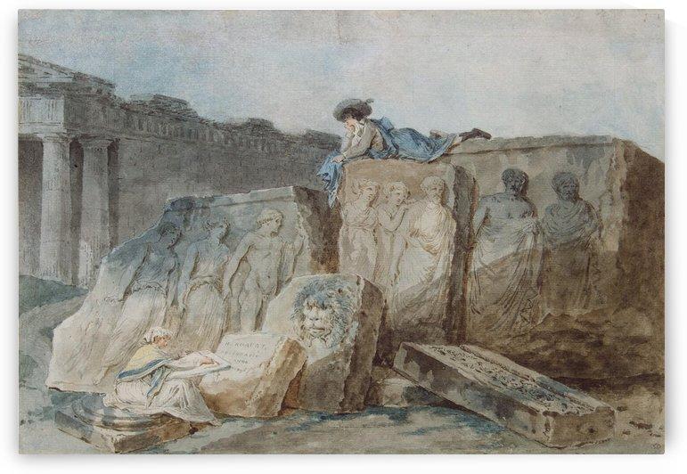 An Artist amongst the Ancient Ruins by Hubert Robert