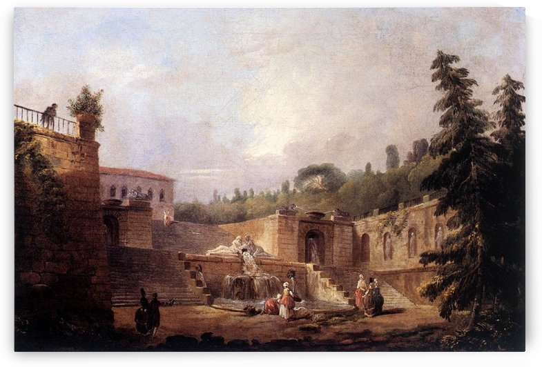 Fountain on a Palace Terrace by Hubert Robert