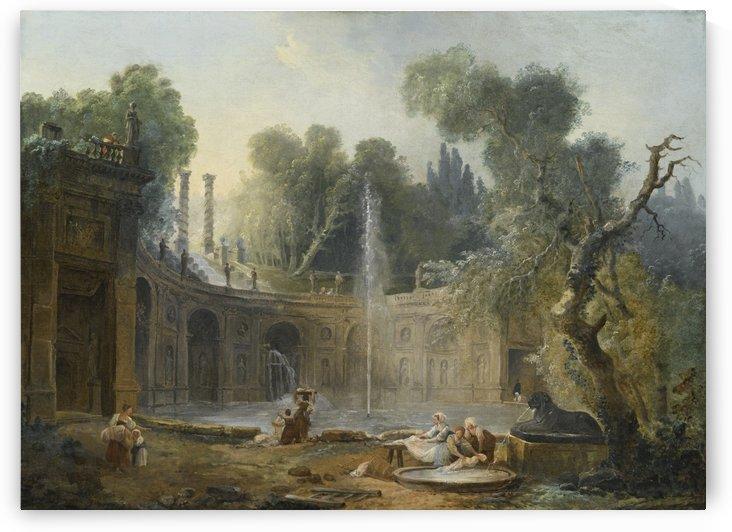 The Teatro delle Acque in the garden of the Villa Aldobrandini by Hubert Robert