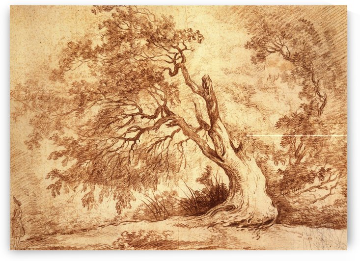Study of a tree with figure by Hubert Robert