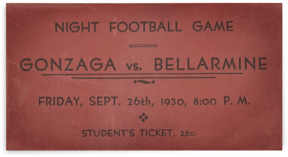 1930 Gonzaga vs. Bellarmine University Football Ticket Canvas by Row One Brand