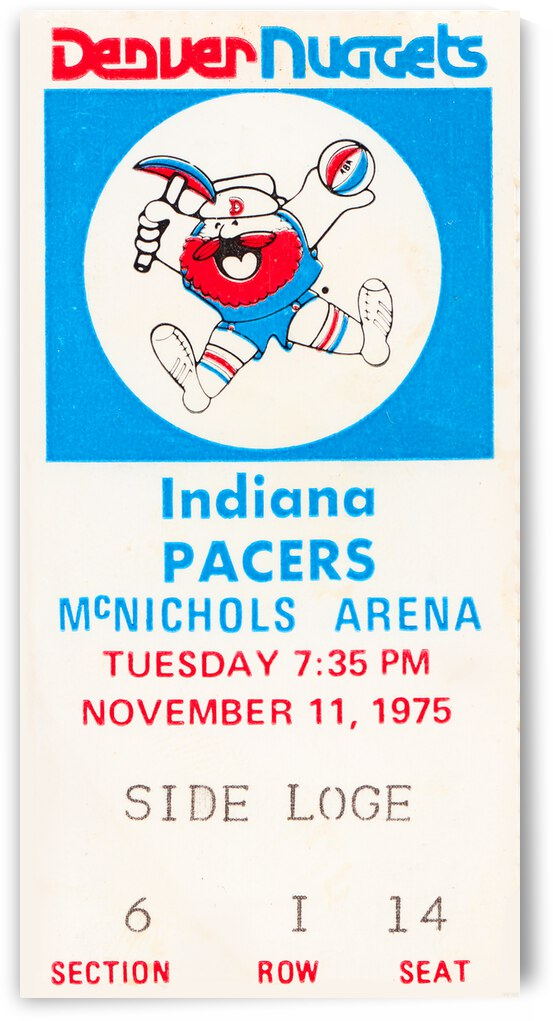 1975 Indiana Pacers vs. Denver Nuggets Ticket Canvas by Row One Brand