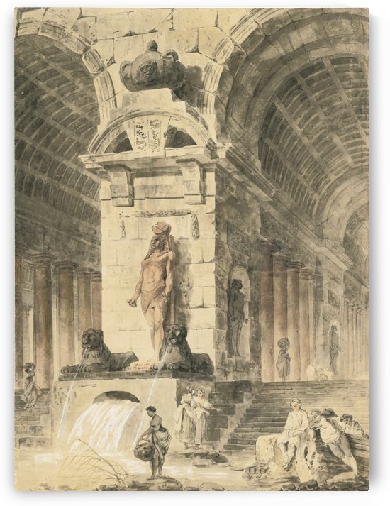 Ancient building with two arcades and Egyptian sculptures, washerwomen and figures near a fountain by Hubert Robert