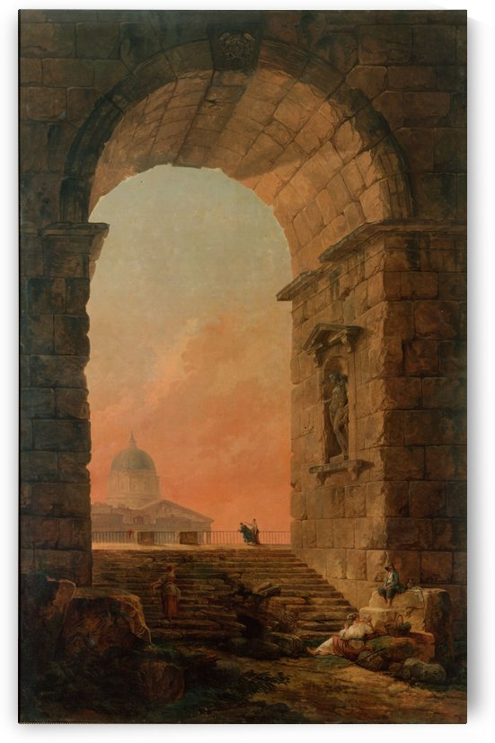 Landscape with an Arch and The Dome of Saint Peter Church in Rome by Hubert Robert