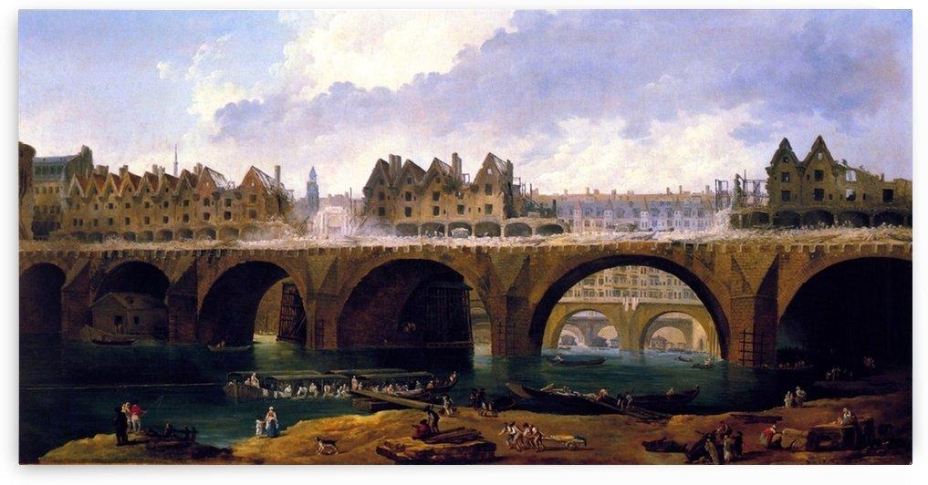 Demolishing Buildings on Pont Notre Dame, 1786 by Hubert Robert