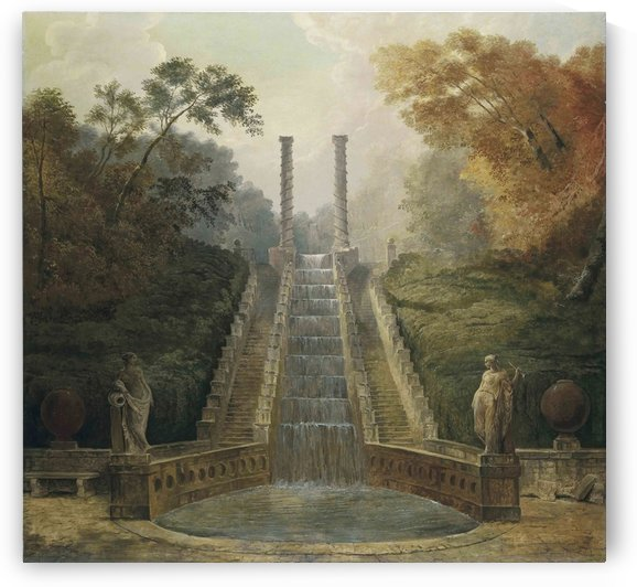 The Cascade in the Gardens of the Teatro dell Acqua behind the Villa Aldobrandini by Hubert Robert