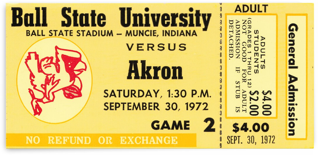 1972 Ball State vs. Akron Football Ticket Art by Row One Brand