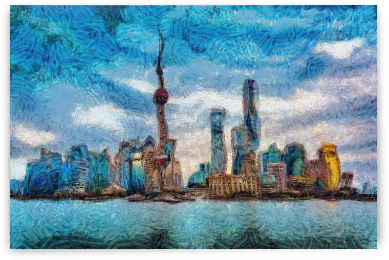 CHINA SHANGHAI CITY OIL PAINTING IN VINCENT VAN GOGH STYLE. 3. by ArtEastWest