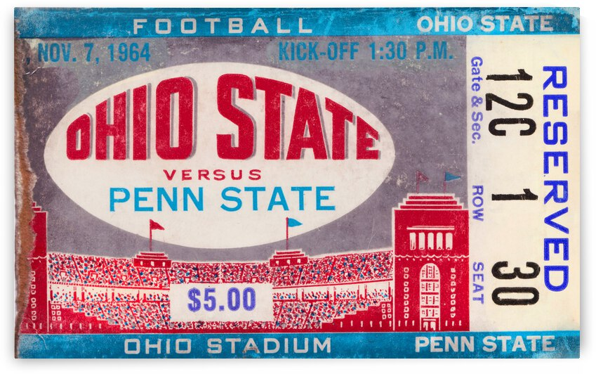 1964 Ohio State vs. Penn State Football Ticket Canvas Art by Row One Brand