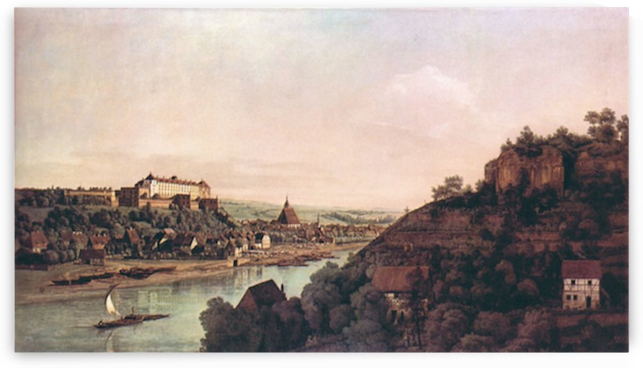 View of Pirna -1- by Canaletto by Canaletto