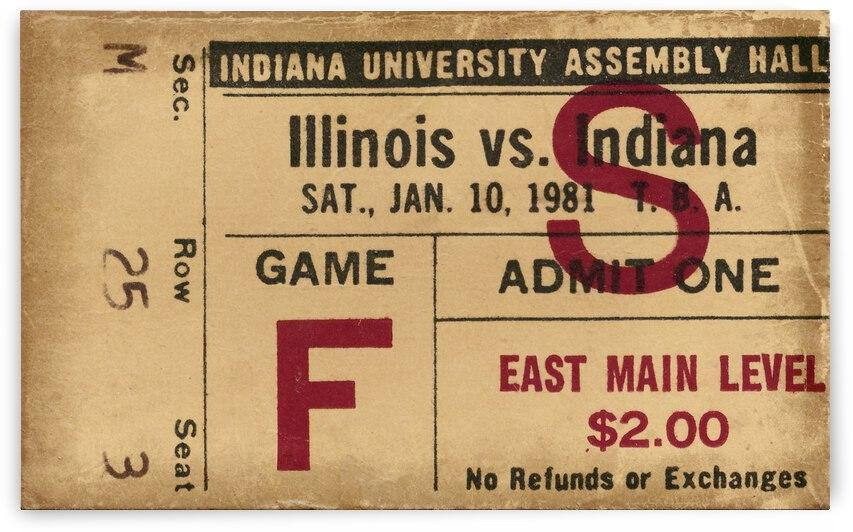 1981 Indiana vs. Illinois Basketball Ticket Art by Row One Brand