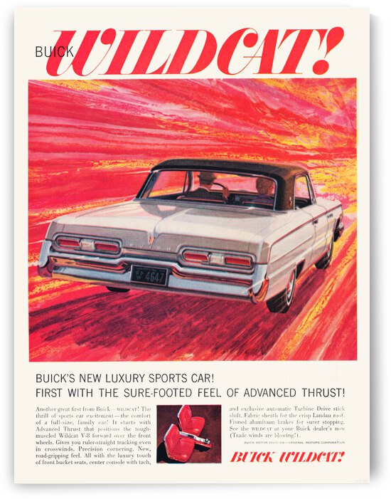 1962 Buick Wildcat Car Advertisement Poster by Row One Brand