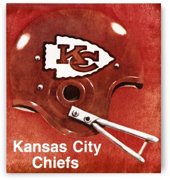 Vintage Seventies Kansas City Chiefs Football Helmet Art by Row One Brand