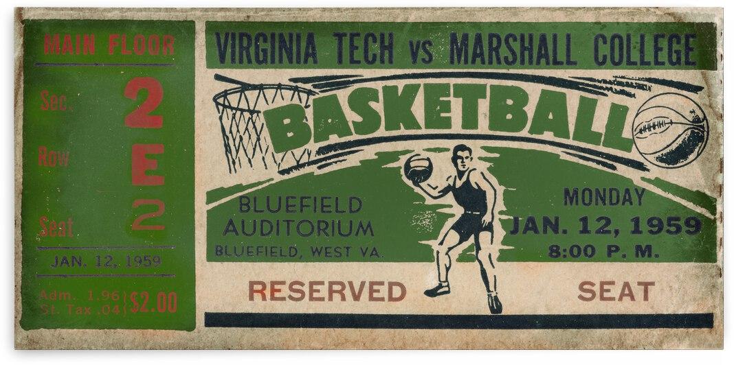 1959 Marshall vs. Virginia Tech Basketball Ticket Canvas by Row One Brand