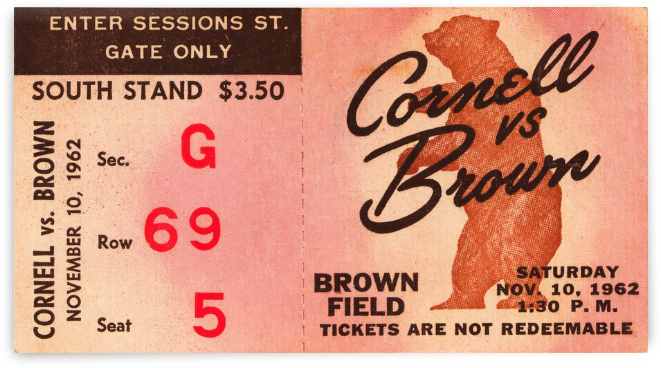 1962 Cornell vs. Brown Football Ticket Stub Canvas Art by Row One Brand